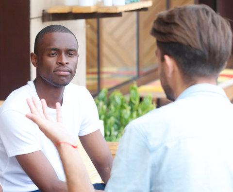 people talking, man listening