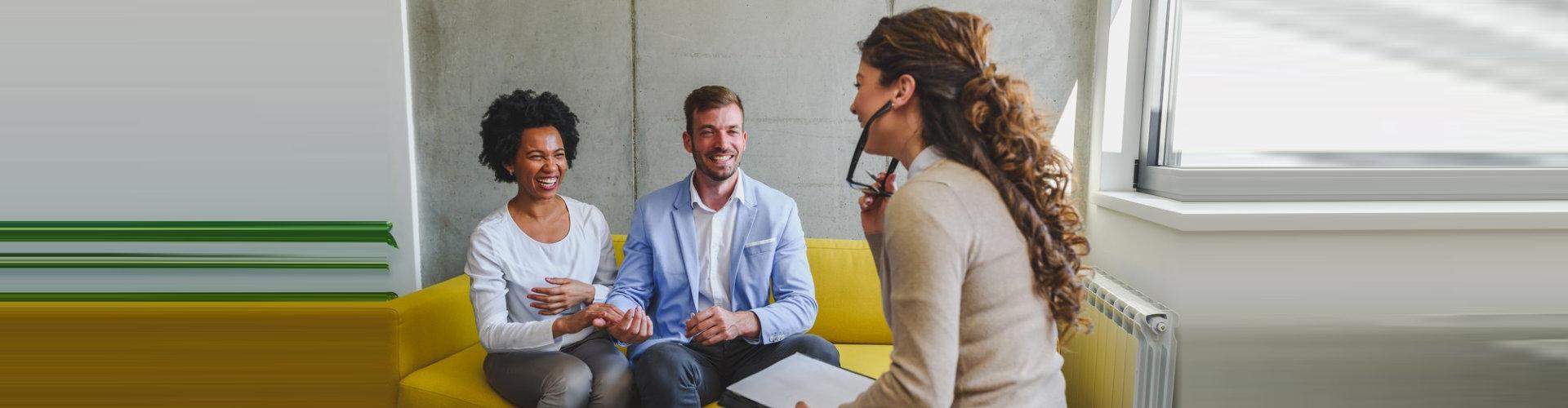 three people talking